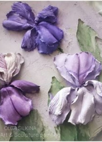 "Sculptural painting ""Irises"""